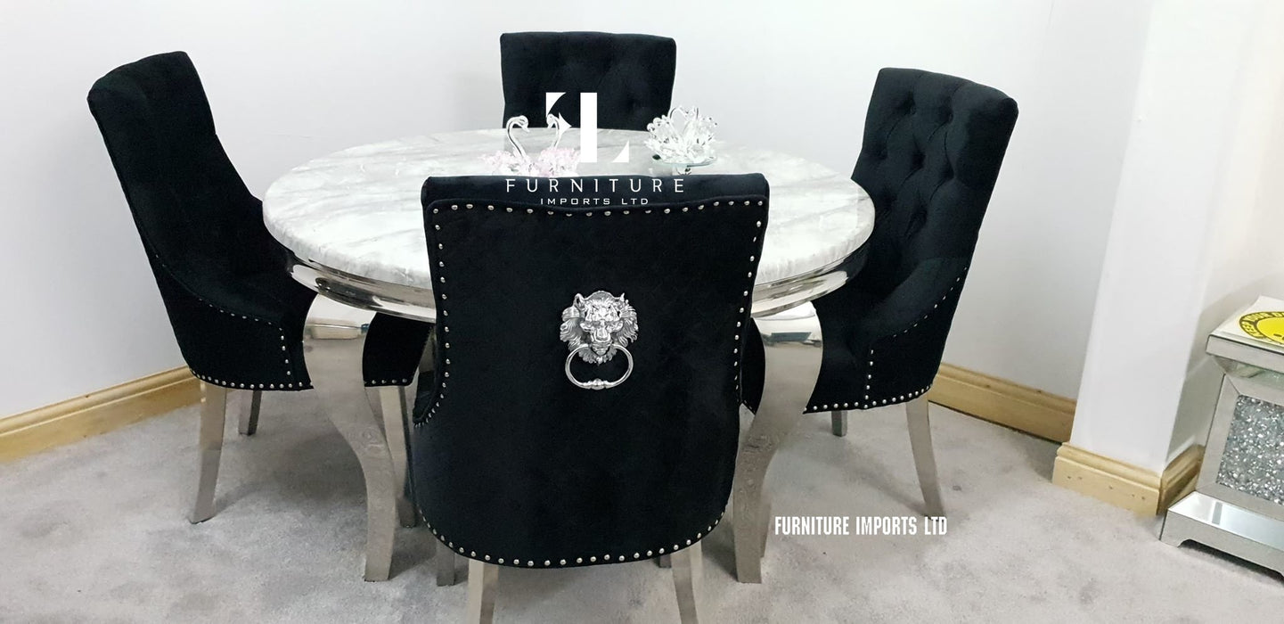 Ashley Round Solid Marble Dining Table + Majestic Chairs - Furniture Imports LTD