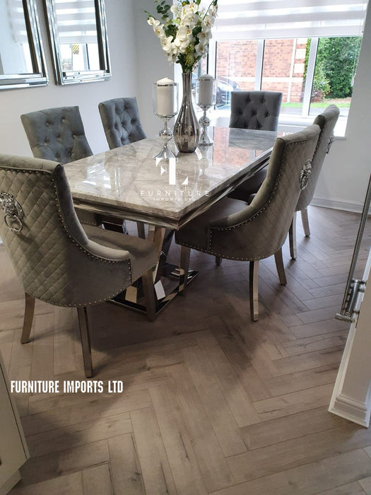 Phoenix Grey Solid Marble Dining Table Set + Majestic Chairs - Furniture Imports LTD