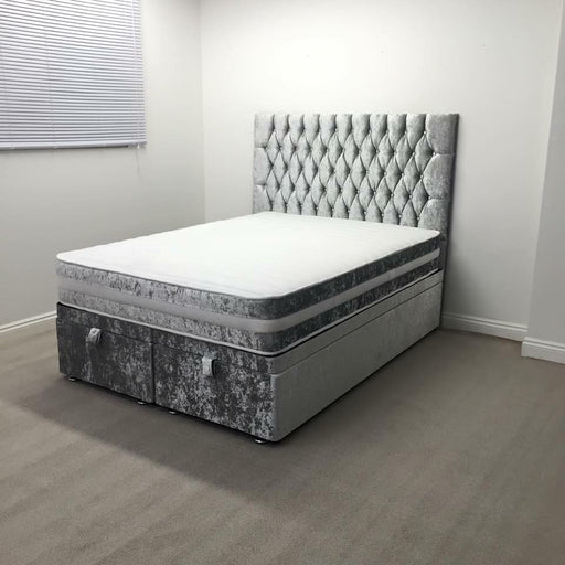 Cheap Crushed velvet bed glitter bedstead monte carlo ottoman bed frame sale furniture double king size  divan bed clearance bed