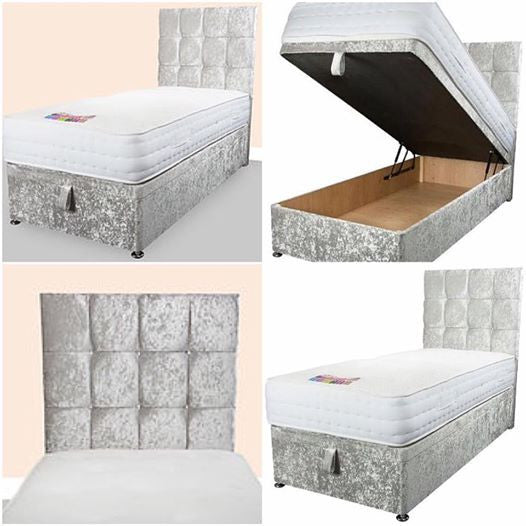 Cheap Crushed velvet bedframe cube ottoman bed bedstead bedstead glitter ottoman bed frame sale furniture double king size  divan bed clearance bed bed clearance bed