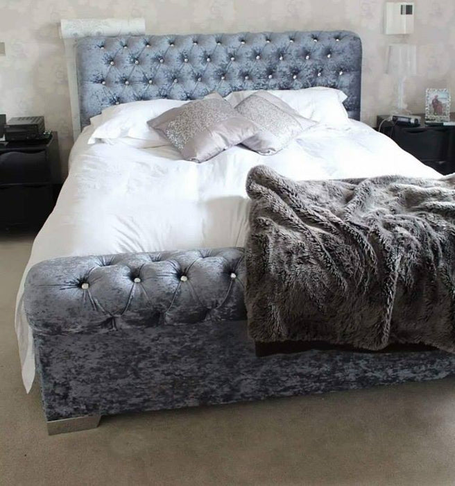 Sleigh chesterfield crushed velvet bedframe