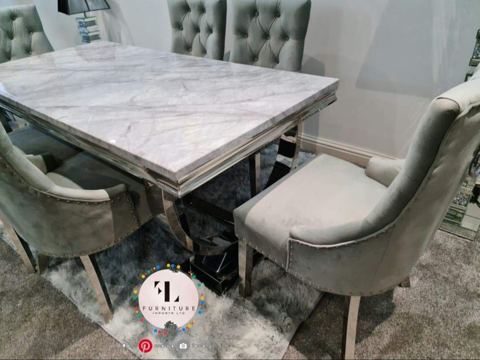 Arianna Marble Solid  Dining Table Set With Parklane Velvet Scoop Back Chair