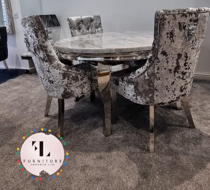 Ashley Round Marble Dining Table + Lustro Velvet Dining Chair