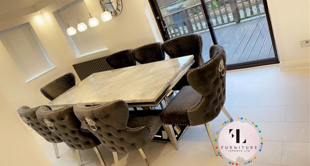 Phoenix Grey Marble Dining Table Set + Valentino Dining Chairs