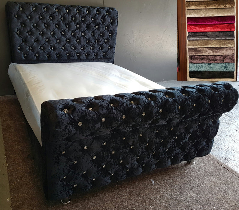 Dicaprio Sleigh Crushed Velvet Bed