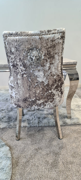 Venice Premium Crushed Velvet Silver Dining Chair - Furniture Imports LTD