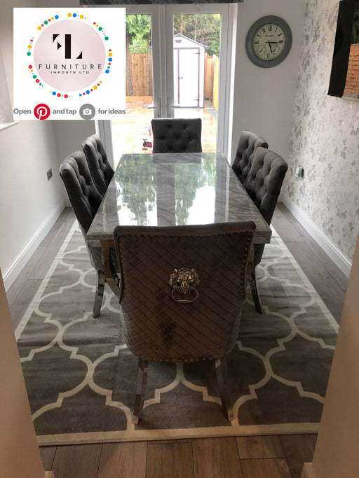 Arianna Mirrored Grey Solid Marble Dining Table Set + Majestic Chairs