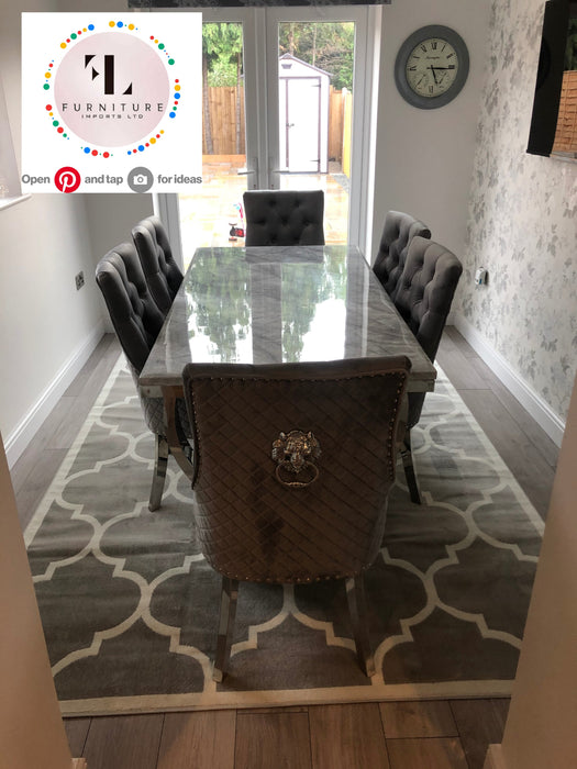 Arianna Mirrored Grey Solid Marble Dining Table Set + Majestic Chairs - Furniture Imports LTD