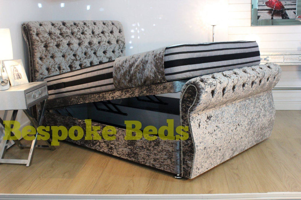 Cheap Crushed velvet bed ottoman swan sleigh bed frame sale furniture double king size ottoman bed divan bed clearance bed