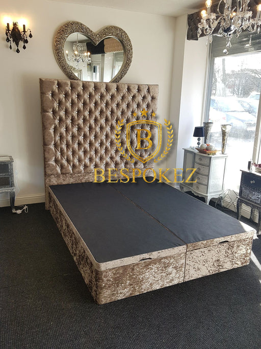 Alexandra Crushed Velvet Ottoman Gaslift with extra High Headboard - Furniture Imports LTD