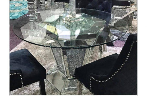 Crushed Diamond Round Dining Table (Set or Table Alone) - Furniture Imports LTD