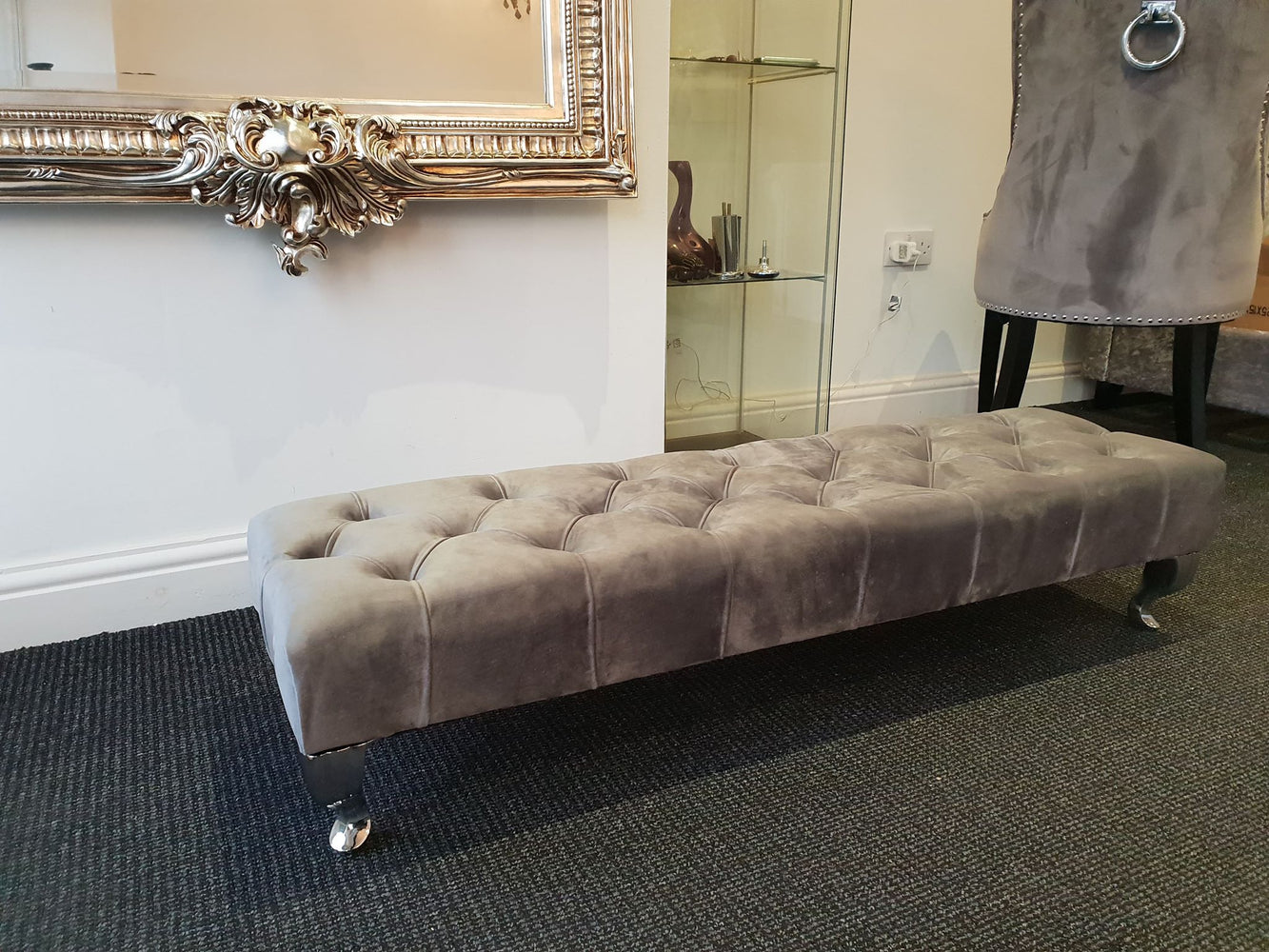 Plush Velvet Chesterfield FootStool with CRYSTAL DIAMONDS Pouffe footstool living room footstool