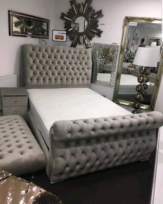 Swan Sleigh Chesterfield Plush velvet bed frame Double King Size all sizes.