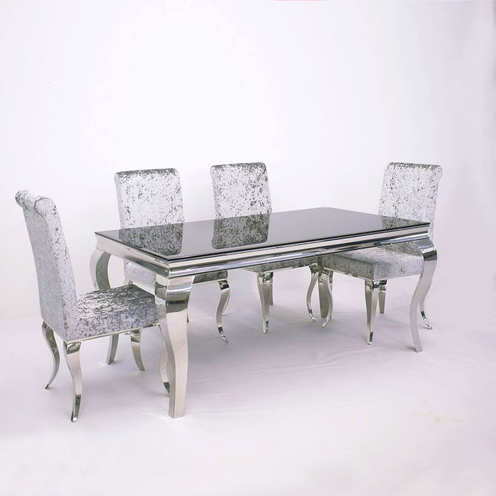 Imperial Dining Set Plus Crushed Velvet & Velvet Dining Chairs