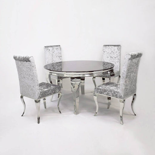 Imperial Round Marble/Glass Dining Set