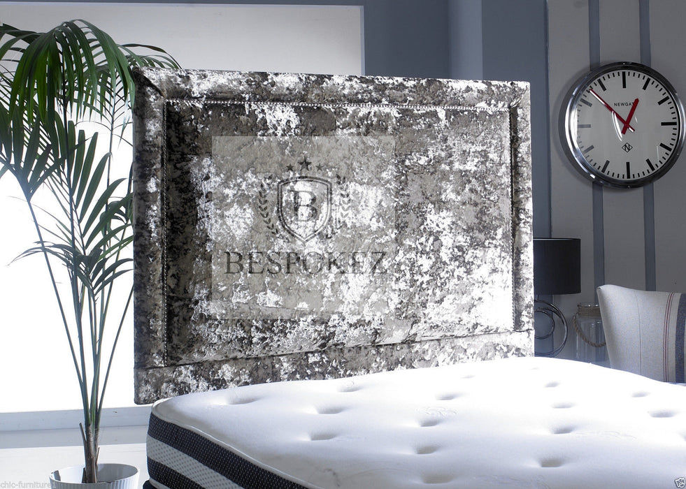 Onyx Headboard crushed velvet studded design Available in single double king and queen size studded padded tuffed headboard