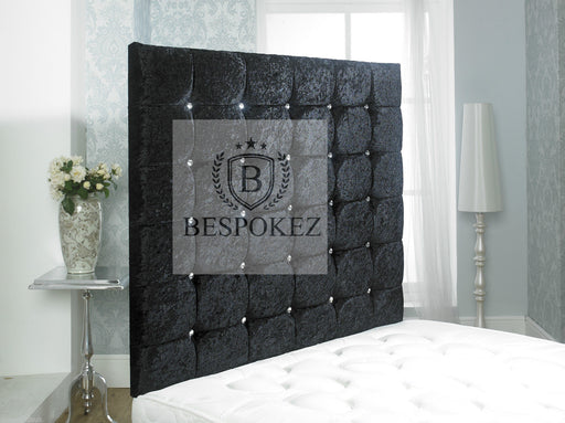 Monte Carlo Headboard is a very interesting design. Available in single double king and queen size A tuffed headboard upholstered in the finest fabrics; crushed velvet, chenille, velvet or leather