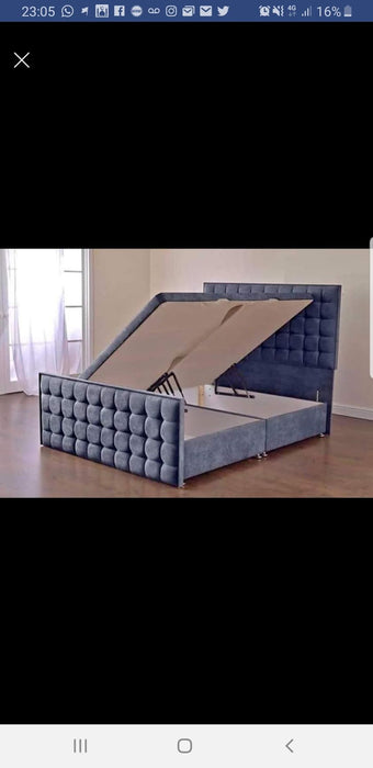 CUBED STYLE OTTOMAN GASLIFT BED IN PLUSH VELVET