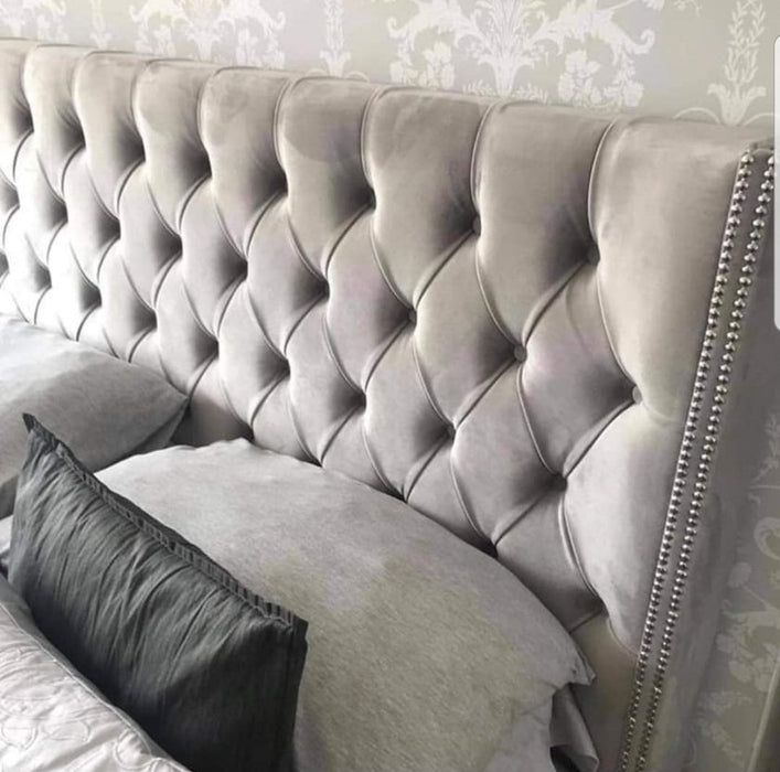 Luxe Curved Wingback Plush velvet bed