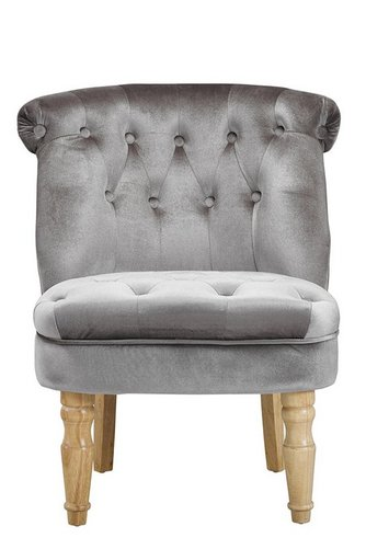 CHARLOTTE 'BOUDOIR STYLE CHAIR - SINGLE SILVER PLUSH VELVET