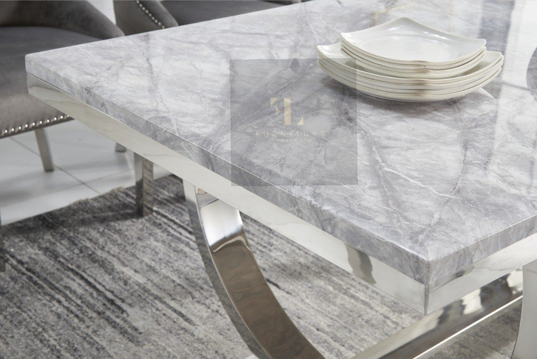 Arianna Valentino Mirrored Grey Solid Marble Dining Table Set - Furniture Imports LTD