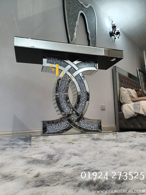 Crushed Diamond Coco Chanel Console Table - Furniture Imports LTD