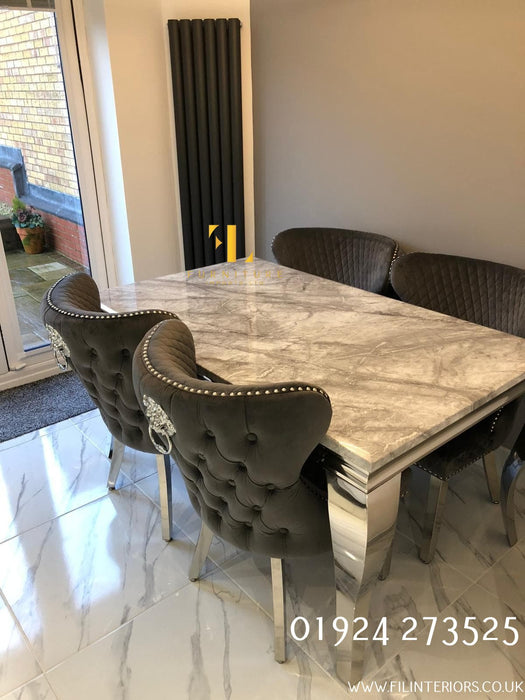 Valentino Imperial Grey Solid Marble Dining Table Set + Valentino Chairs - Furniture Imports LTD