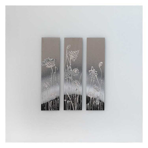 Abstract Flowers on White Glass Mirror. - BESPOKEZ