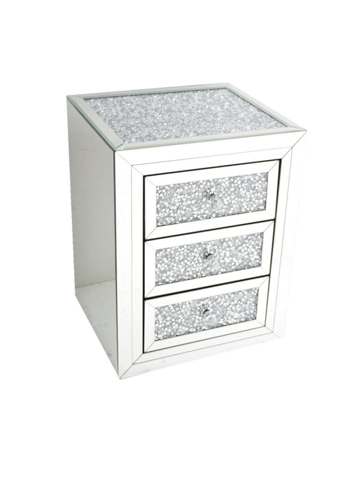 Crushed Diamomd Bedside Cabinet - Furniture Imports LTD