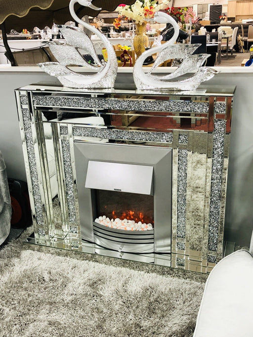 Lucy Crushed Diamond Mirrored Fire Place - Furniture Imports LTD