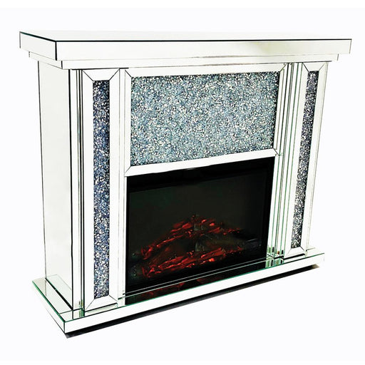 Crushed Diamond FirePlace With Electric Fire - Furniture Imports LTD
