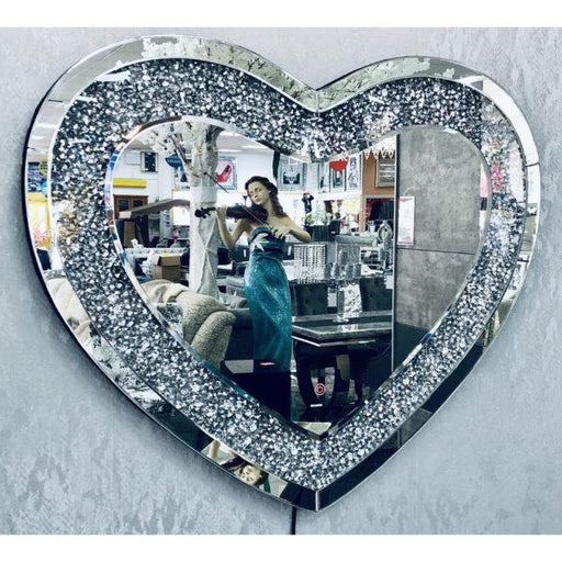 Crushed Diamond LED Heart Wall Mirror - Furniture Imports LTD