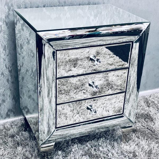 Curved Mirrored Bedside