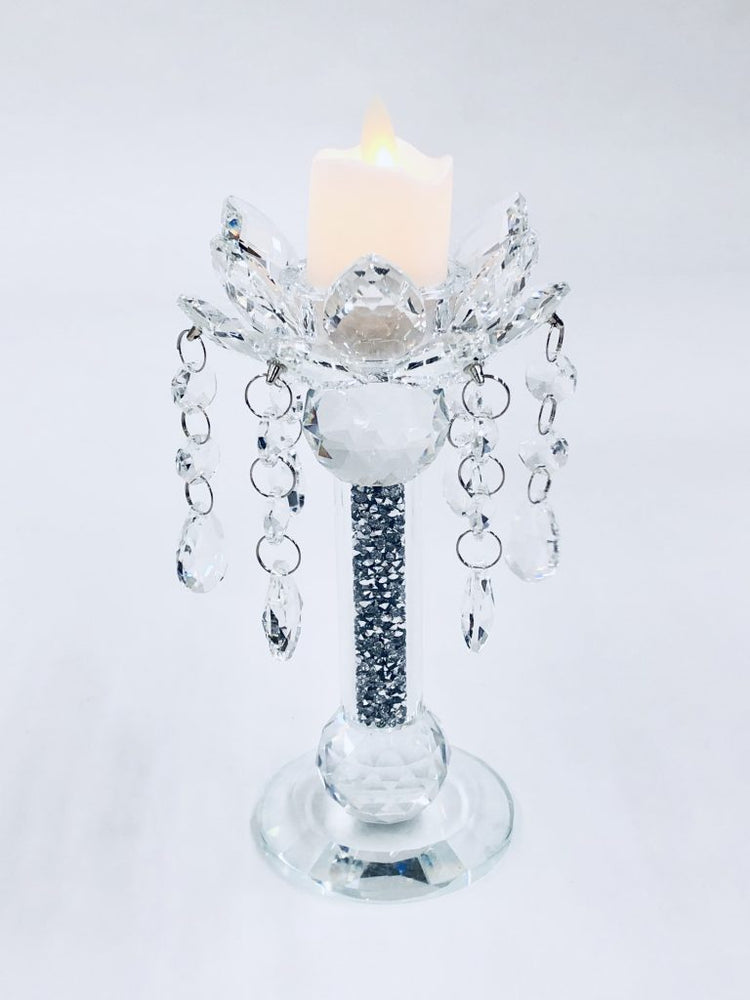 Crystal Crushed Candle Holder Medium - Furniture Imports LTD