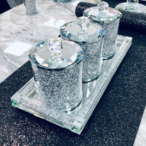 Crystal Tea, Coffee, Sugar Tray - Furniture Imports LTD