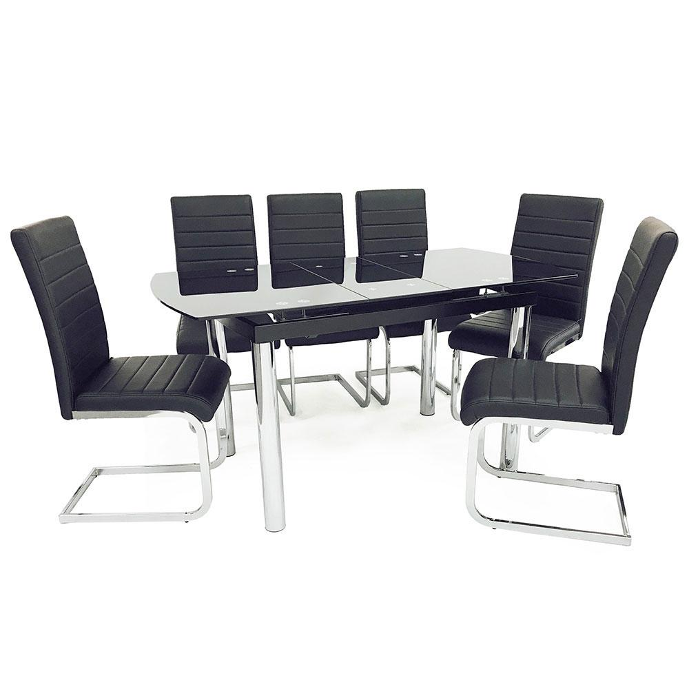 California Extending Dining Set (6 New York Chairs) - Furniture Imports LTD