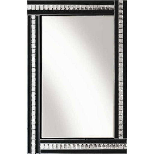 Classic Triple Bar Mirror Black Crystal 60 x 80 cm - BESPOKEZ