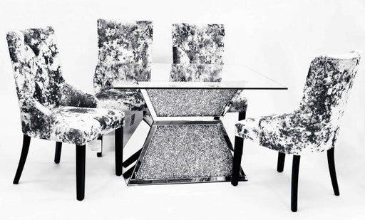 Crushed Diamond Dining Table T-6 with 6 Chairs