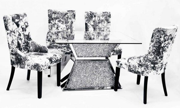 Crushed Diamond Dining Table T-6 with 6 Chairs - Furniture Imports LTD