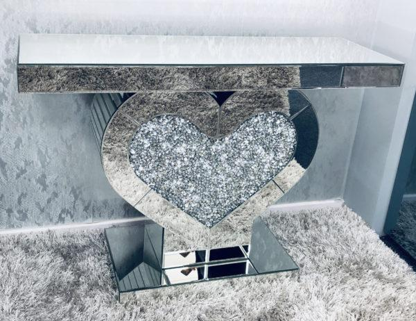 Crushed Diamond Heart Console Table - Furniture Imports LTD