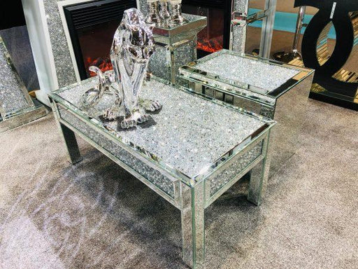 Crushed Diamond Mirrored Coffee Table - Furniture Imports LTD