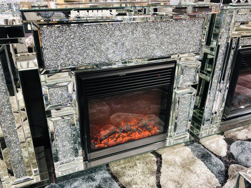 Crushed Diamond Mirrored Fire Place - Furniture Imports LTD