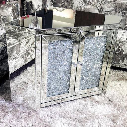 Crushed Diamond Mirrored Sideboard - Furniture Imports LTD