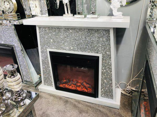 Crushed Diamond White Mirrored Fire Place - Furniture Imports LTD