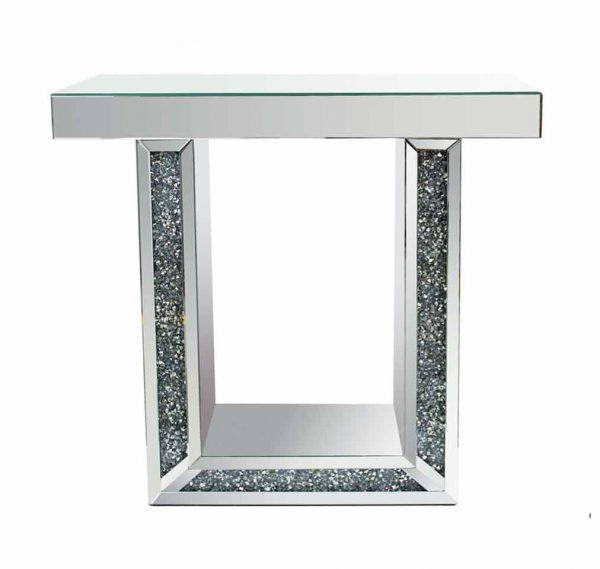 Crushed Mirrored Console Table - Furniture Imports LTD