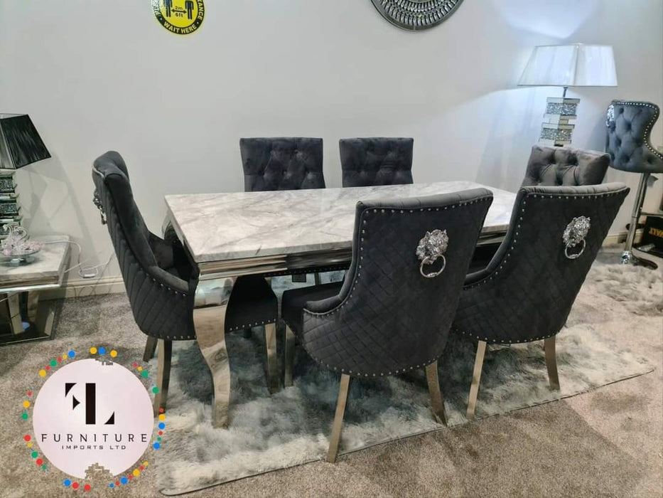 Majestic Dining Chairs Lion Knocker chrome legs