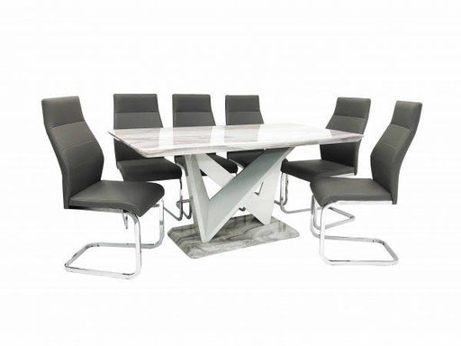Georgia Dining Table + 6 Berlin Chairs (Marble Effect) - Furniture Imports LTD