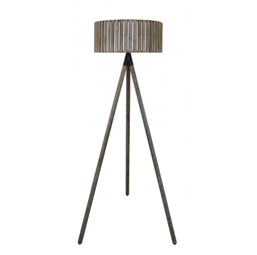 Grey Hollywood Floor Lamp With Round Grey Wooden S... - BESPOKEZ