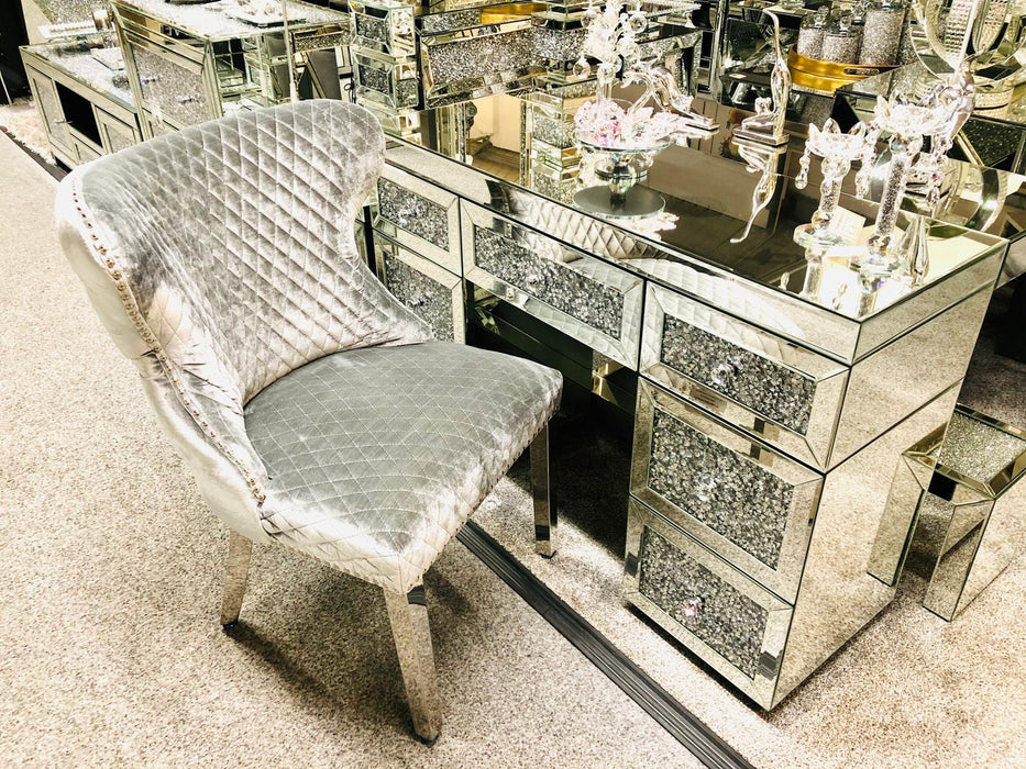Valentino Silver Velvet Dining Chair - Furniture Imports LTD