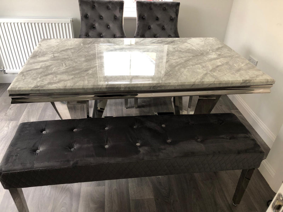 Phoenix Grey Solid Marble Dining Table Set + Majestic Chairs